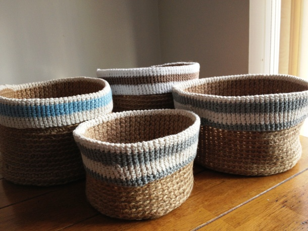 Crochet basket tidies