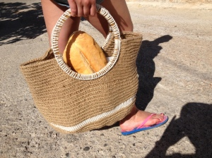 Collecting breakfast in newly crocheted bag
