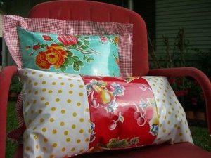 Oil cloth cushion by Tina Smith