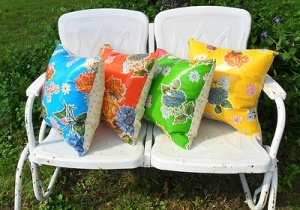 OIl cloth cushions on a bench