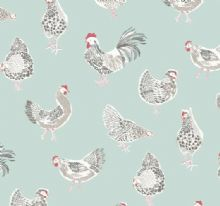 Rooster oilcloth in duckegg