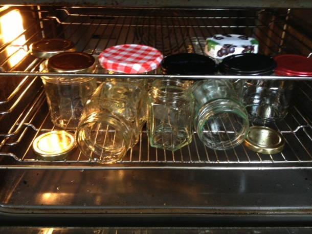 Place in an oven set on low heat to sterilize jars