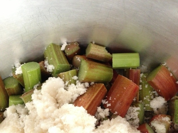 Cut rhubarb into 1 inch chunks (roughly) and place in the pan with the sugar over a low heat. Keep stirring