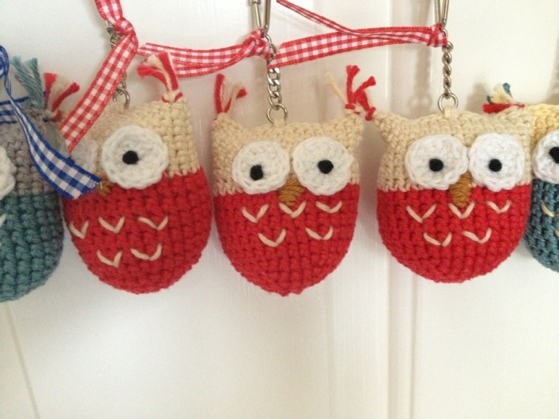 Crochet owl bag charms
