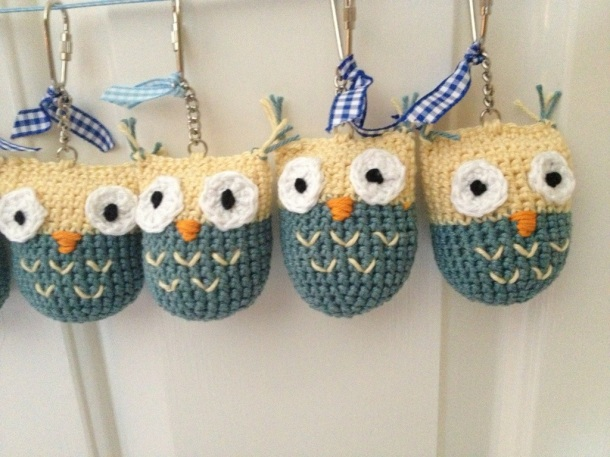 Crochet owl key rings