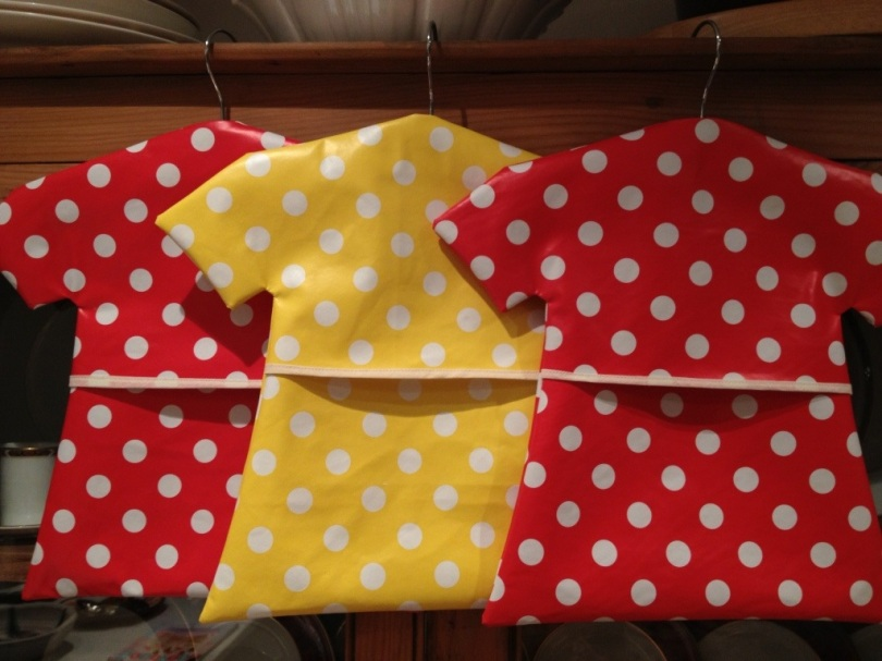 Totally spotty oil cloth peg bags