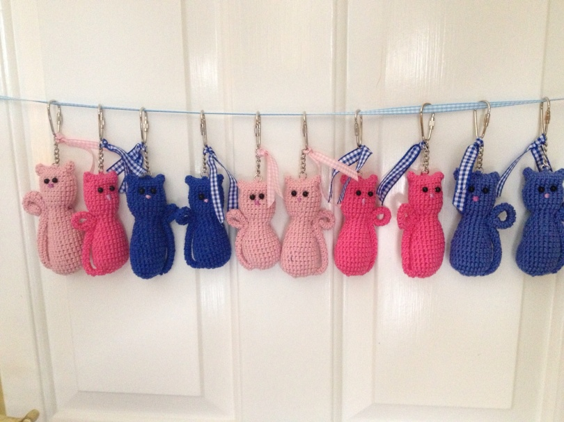 Crochet cat bag charms