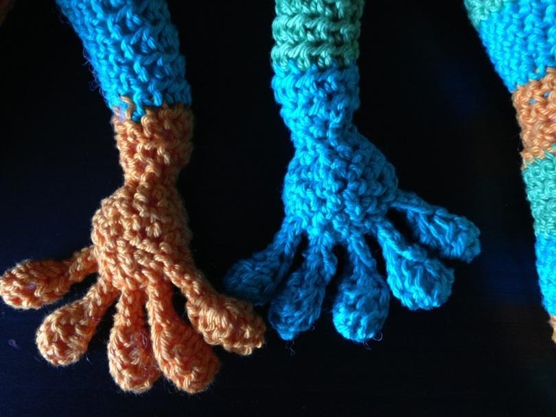 Crochet gecko feet
