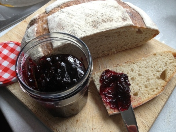 Blackberry and apple Jam on a sourdough loaf