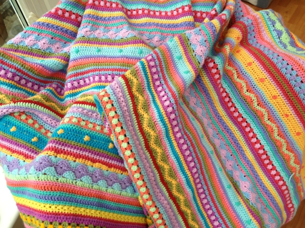 Strippy crochet blanket