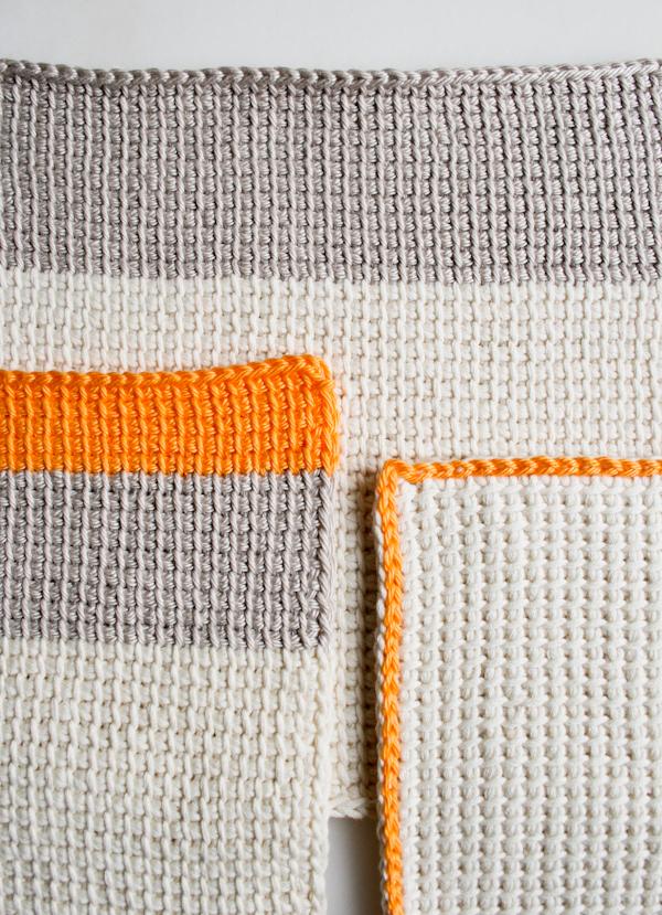 Tunisian crochet from http://www.purlbee.com/tunisian-crochet-basics/