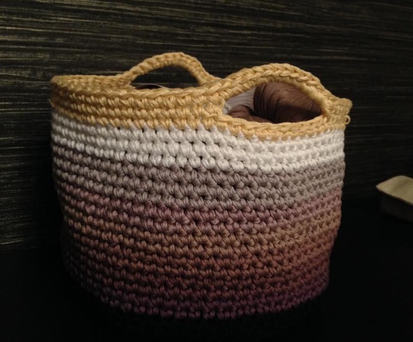Crochet stash bucket