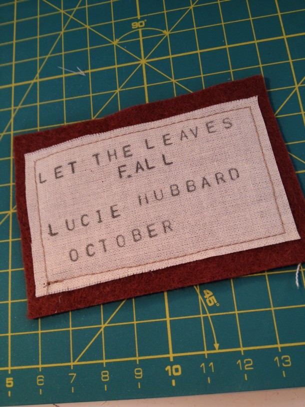 and stitched it onto a piece of felt