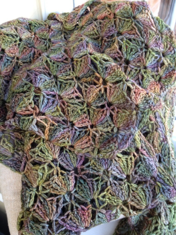 Crochet lace scarf in Malabrigo sock yarn