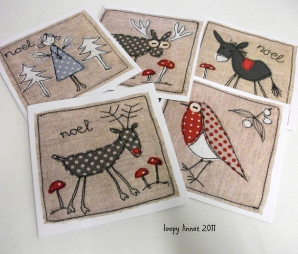 Loopy Linnet Christmas cards on folksy