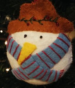 Cosy felt snowman