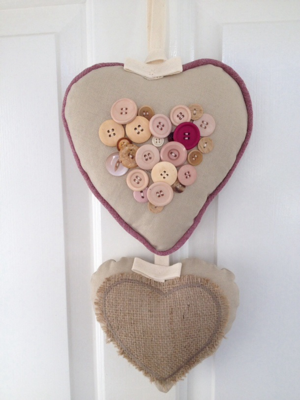 Linen and button hanging heart