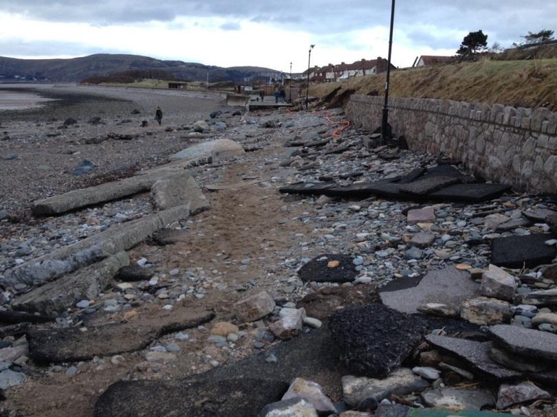 Deganwy beach promenade storm damage