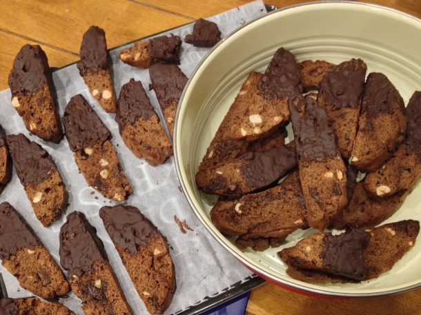 Homemade double chocolate biscotti