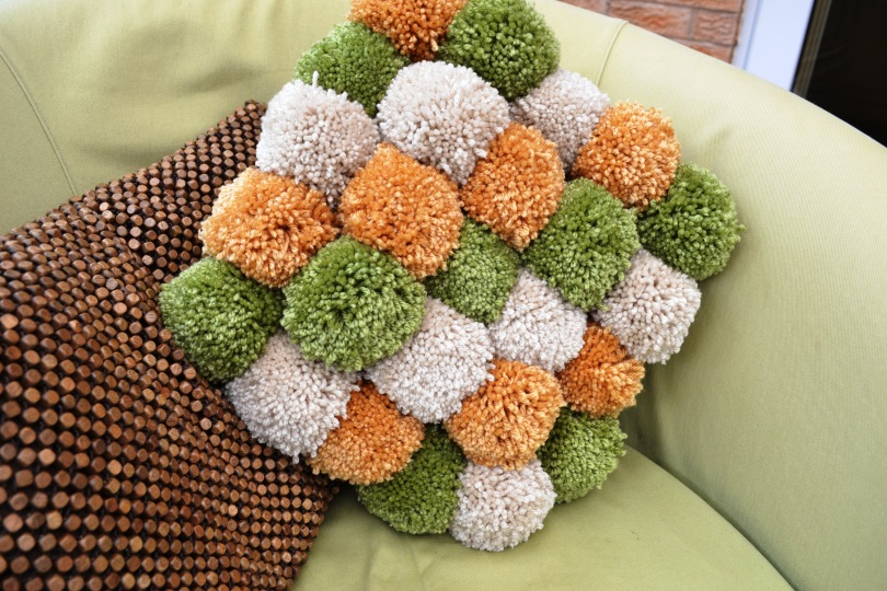 Completed Pom Pom Cushion