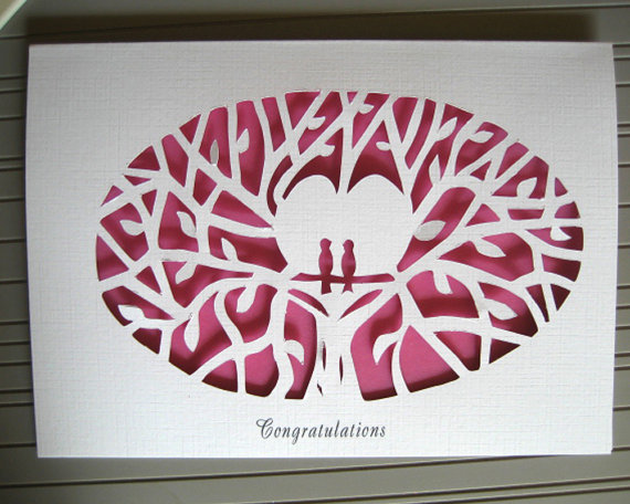 Wedding papercut by JBart on etsy