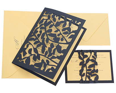 Leaf lace invitation by 'Timeless Paper' a wedding stationry shop in Arkansas