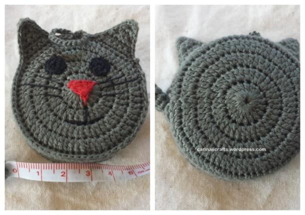 Crochet cat tape measure