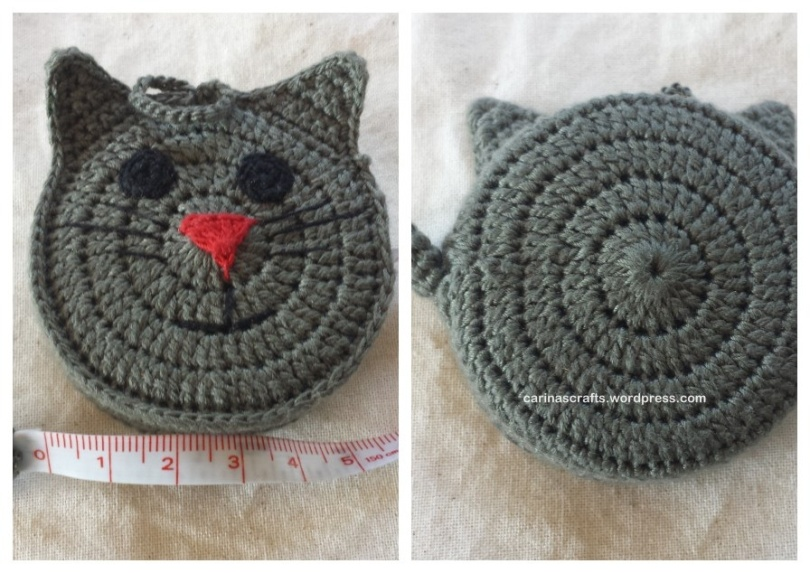 Crochet cat tape measure