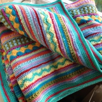 The end of my stripy blanket CAL