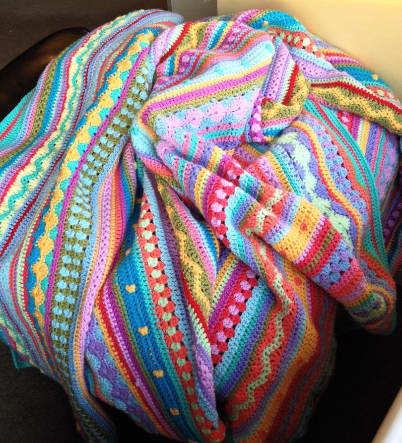 Stripey CAL blanket afghan