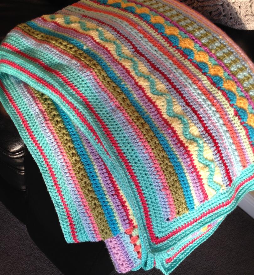 Stripy CAL blanket afghan