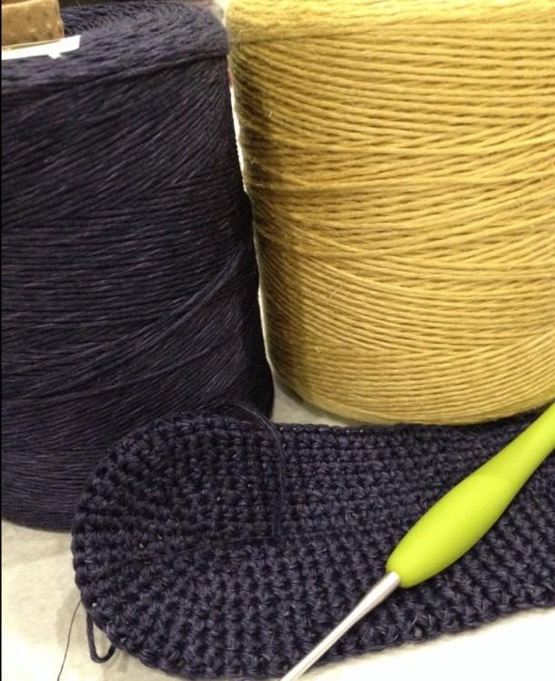 Crochet linen clutch bag.