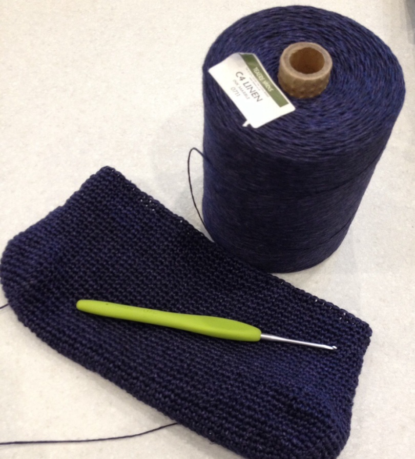 Crochet linen clutch bag