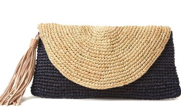 Crochet linen clutch bag Love, Lucie