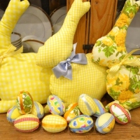 Easter bunnies and an Easter chick (duck) garland