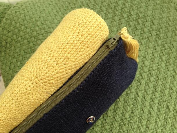 Crochet linen clutch