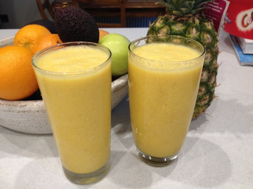 Tropical Breakfast Smoothie  Orange, banana, small handful grated coconut, handful oats.  Went down a treat with everyone.