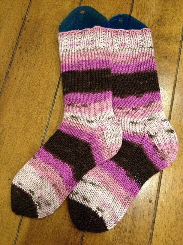 Pink knitted socks