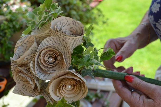 Paper flower weding bouquet