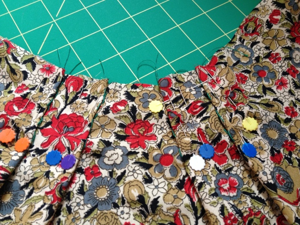 Pleats marked, and pinned