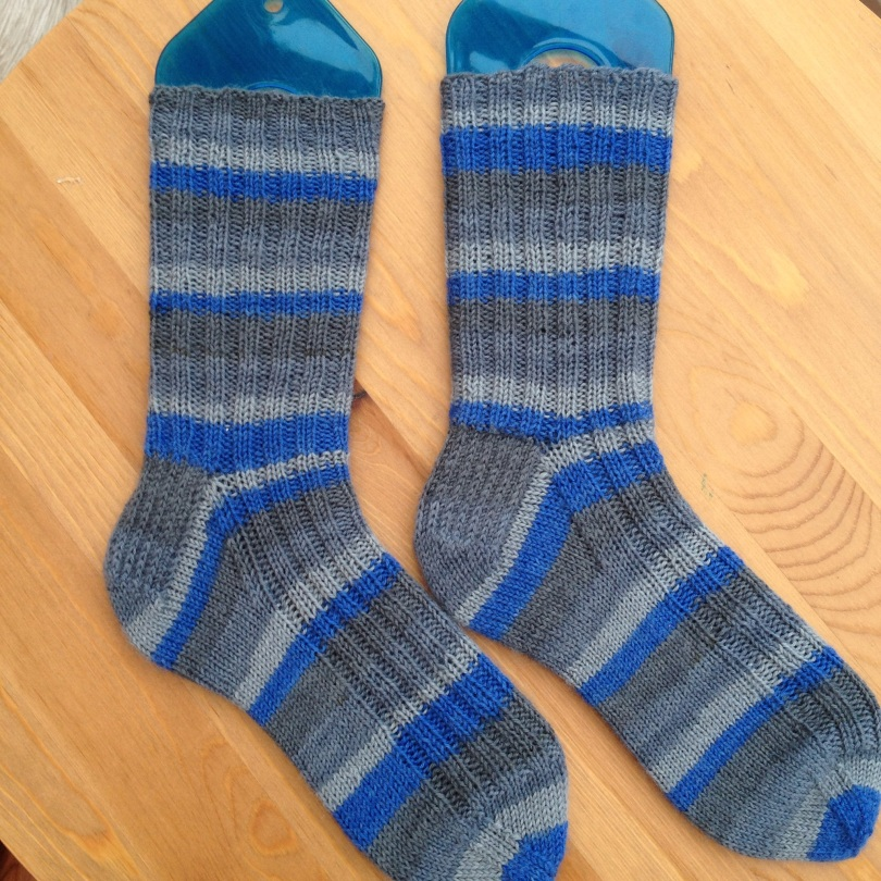 Knitted ribbed socks