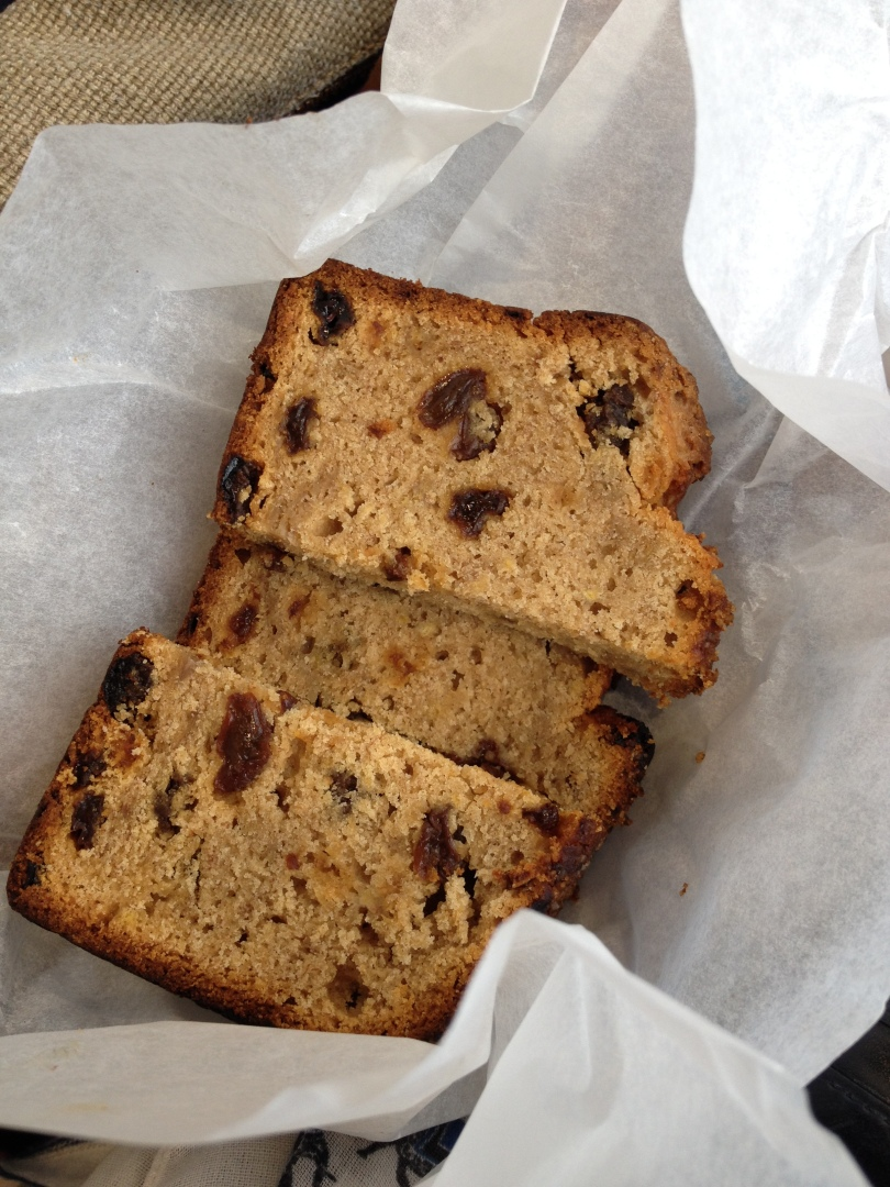 Banana bread, cooked (and burnt) the day before