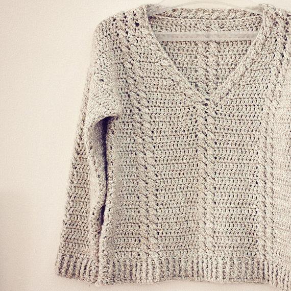 Crochet Cable V neck by monpetitviolon