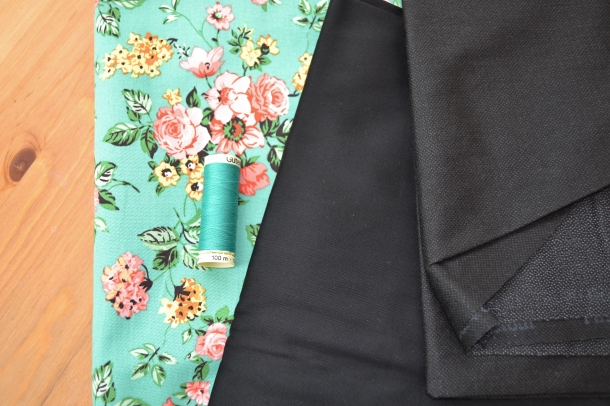 Stretch floral print cotton, black stretch cotton and medium weight interfacing