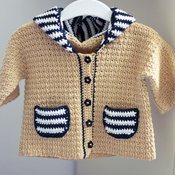 Sailor Hooded Cardigan by monpetitviolon