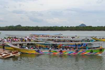 Colurful boats at Koh Panyee