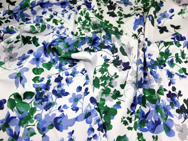 Blue and green marrakesh large floral print stretch cotton.