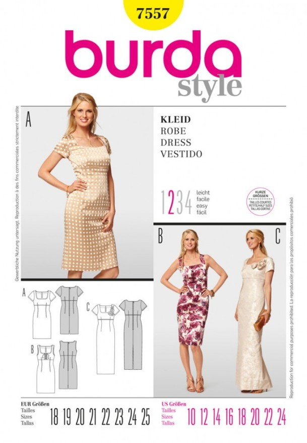 Burda ladies easy sewing pattern 7557 empire line dress