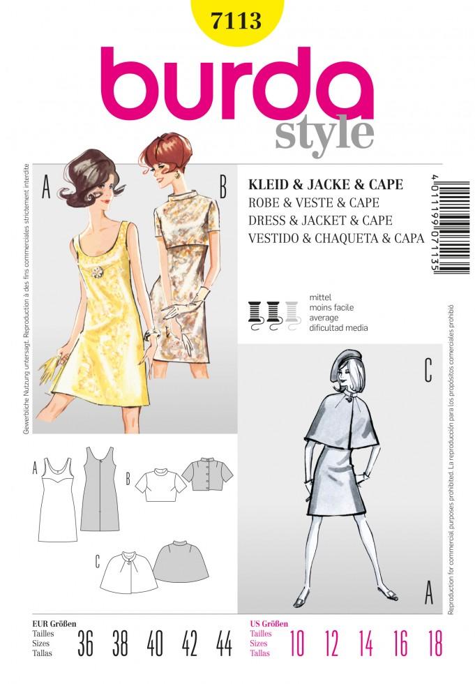 burda-ladies-sewing-pattern-7113-vintage-style-60s-dress-jacket-and ...