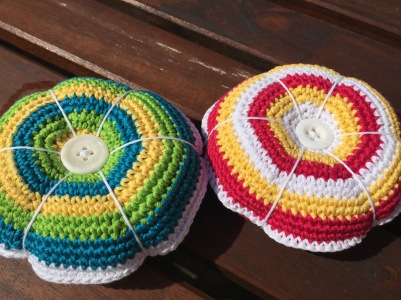 Crochet pin cushions
